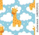 Giraffe Cute Seamless Pattern...