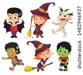 happy halloween. set of cute... | Shutterstock .eps vector #1482946937