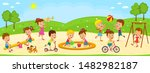 kids  boys and girls are... | Shutterstock .eps vector #1482982187