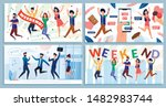 happy smiling company employee... | Shutterstock .eps vector #1482983744