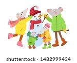 rats family making snowman flat ... | Shutterstock .eps vector #1482999434