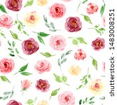 seamless background  floral... | Shutterstock . vector #1483008251