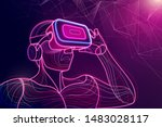 Abstract Of Man Wear Vr Head...