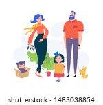 cartoon family. vector....   Shutterstock .eps vector #1483038854