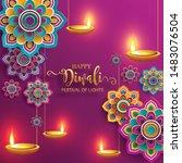 diwali  deepavali or dipavali... | Shutterstock .eps vector #1483076504