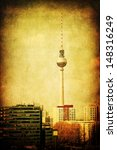vintage style picture of the Television Tower in Berlin - stock photo