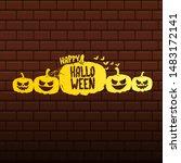 happy halloween text banner or... | Shutterstock .eps vector #1483172141