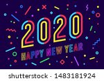 2020  happy new year. greeting... | Shutterstock .eps vector #1483181924