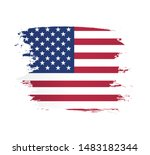 american flag made in a brush... | Shutterstock .eps vector #1483182344