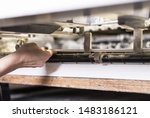 printing operator working on an ... | Shutterstock . vector #1483186121