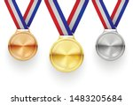 gold  silver and bronze medals... | Shutterstock .eps vector #1483205684