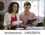 couple using tablet and going... | Shutterstock . vector #148328531