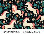 unicorns on a dark background... | Shutterstock .eps vector #1483295171