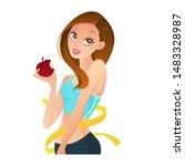 healthy fitness girl eating... | Shutterstock .eps vector #1483328987