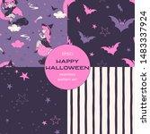 halloween night cartoon vector... | Shutterstock .eps vector #1483337924