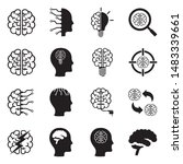 brain icons. black flat design. ... | Shutterstock .eps vector #1483339661