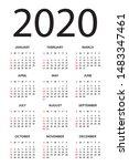 calendar 2020 year   vector...   Shutterstock .eps vector #1483347461
