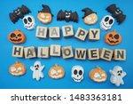 happy halloween alphabet letter ... | Shutterstock . vector #1483363181