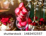 pink macarons in glass bowl on... | Shutterstock . vector #1483452557