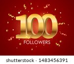 100 followers background...   Shutterstock .eps vector #1483456391