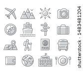 travel and tourism icon set on... | Shutterstock . vector #1483481204