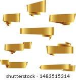 gold origami ribbon set... | Shutterstock .eps vector #1483515314