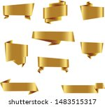 gold origami ribbon set... | Shutterstock .eps vector #1483515317