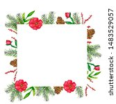 watercolor.square frame with... | Shutterstock . vector #1483529057