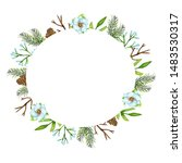 watercolor christmas frame with ... | Shutterstock . vector #1483530317