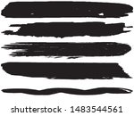 vector brush set. black lines... | Shutterstock .eps vector #1483544561