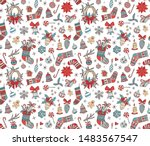 merry christmas doodle seamless ... | Shutterstock .eps vector #1483567547