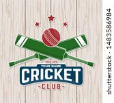 cricket club patch or sticker.... | Shutterstock .eps vector #1483586984