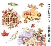 hand painted watercolor autumn...   Shutterstock . vector #1483594331