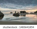 Bandon Beach In The Morning At...