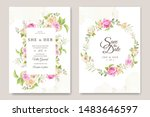 wedding invitation card with... | Shutterstock .eps vector #1483646597