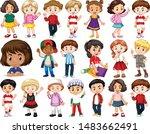 set of happy children doing... | Shutterstock .eps vector #1483662491