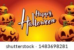 pumpkin happy halloween orange... | Shutterstock .eps vector #1483698281
