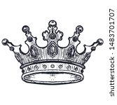 hand drawn crown on white.... | Shutterstock .eps vector #1483701707