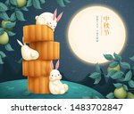 Stock vector lovely rabbits enjoying mooncakes with happy mid autumn festival and wish we can share the beauty 1483702847