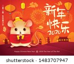 happy chinese new year 2020.... | Shutterstock .eps vector #1483707947