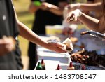 Small photo of Series of bbq cookout grill images depicting sausages, steak and fried onion sandwiches. Sausage sizzle and snag sangas.