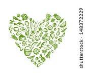 healthy food background  heart...   Shutterstock .eps vector #148372229