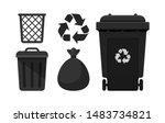 Black Bin Set  Recycle Bin And...