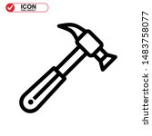 hammer icon isolated sign...