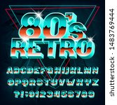 80s retro alphabet font. 3d... | Shutterstock .eps vector #1483769444