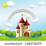 illustration of a castle below... | Shutterstock . vector #148378259