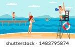 Male Lifeguard On Beach Flat...