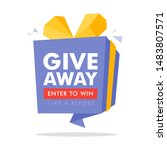 giveaway enter to win poster... | Shutterstock .eps vector #1483807571