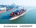 large container ship arriving... | Shutterstock . vector #148380899