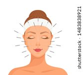 acupuncture. girl with closed... | Shutterstock .eps vector #1483838921